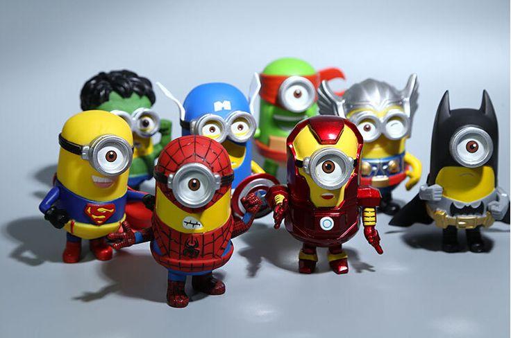 8 pçs/set 3D Eye Minion Cos Super-heróis Vingadores homem De Ferro Hulk Thor Spriderman Ação PVC Figuras Crianças Brinquedos E92(China (Mainland))