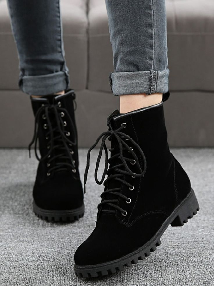Black Lace Up Suedette Chunky Ankle Boots | Choies