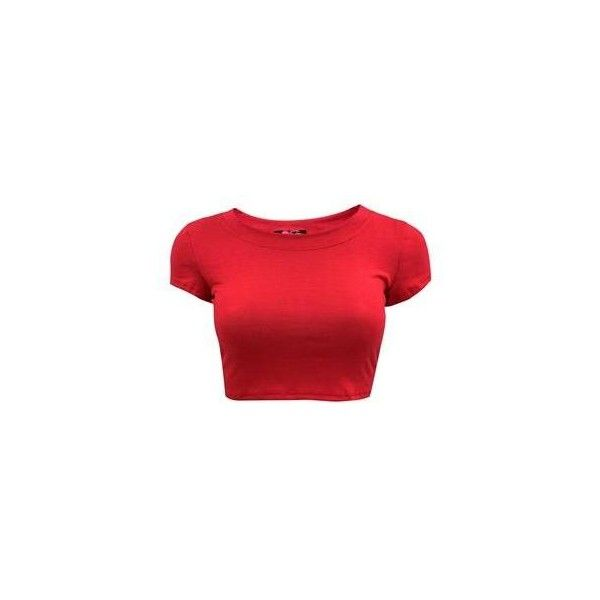 Basic Crop Tee ($6.99) ❤ liked on Polyvore featuring tops, crop tops, scoop neck top, red short sleeve top, rayon tops, short sleeve tops and viscose tops