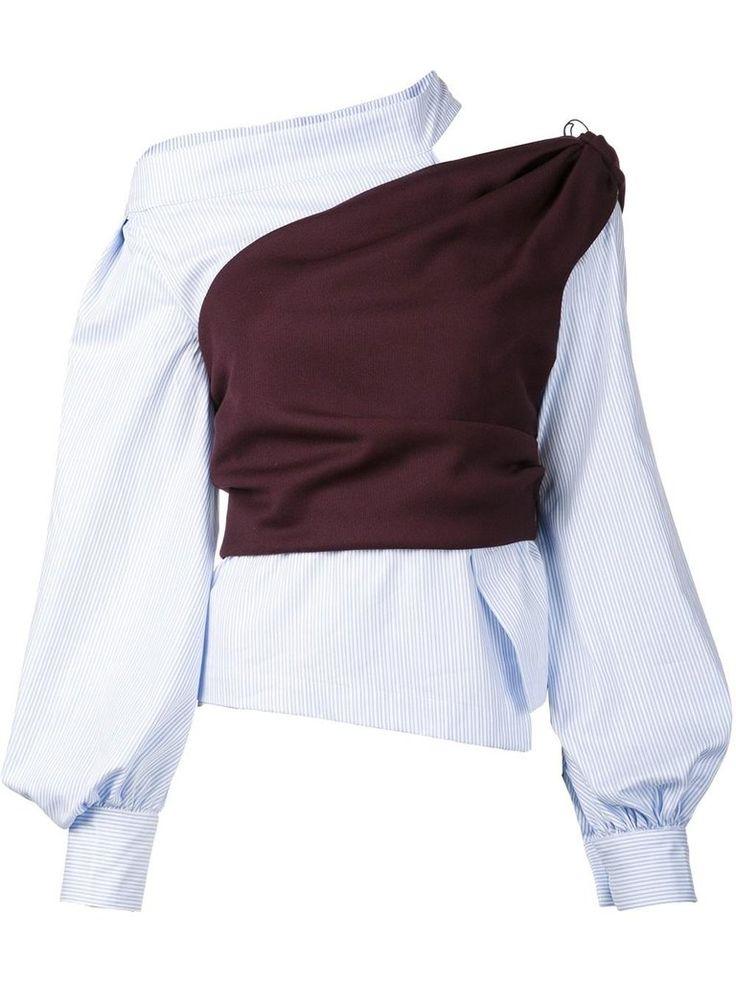 Asymmetric Striped Blouse