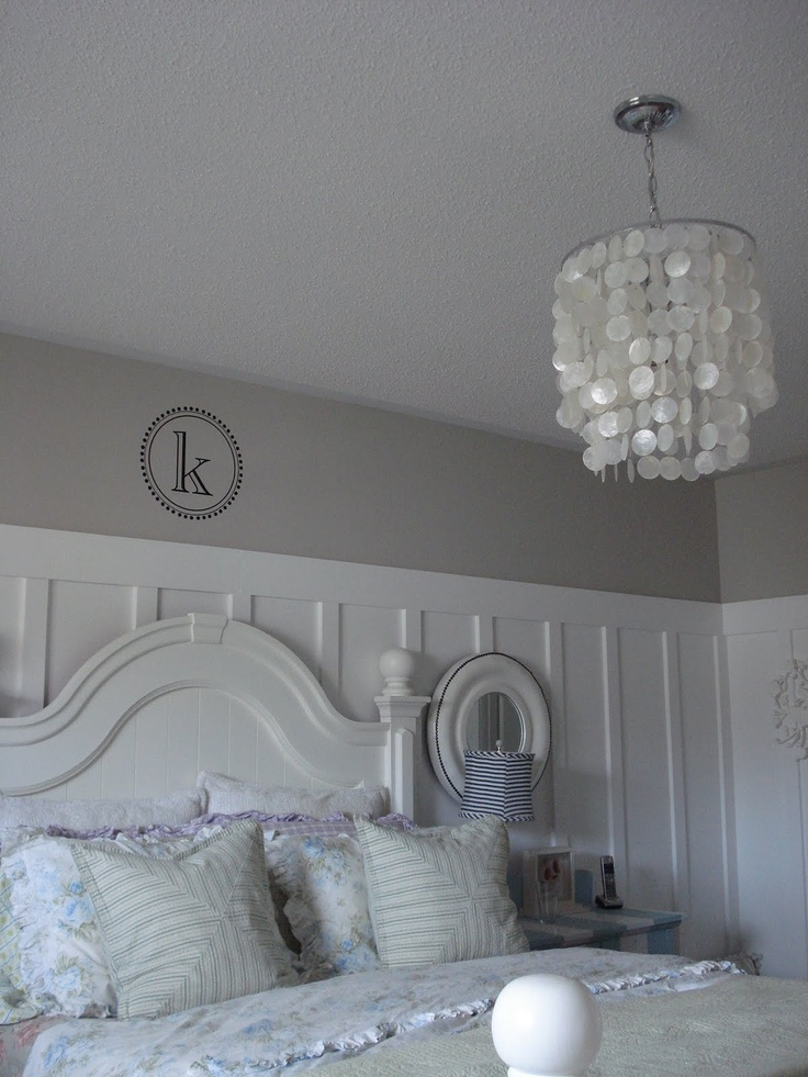 Wainscot and capiz chandelier there 39 s no place like for Bedroom with wainscoting ideas
