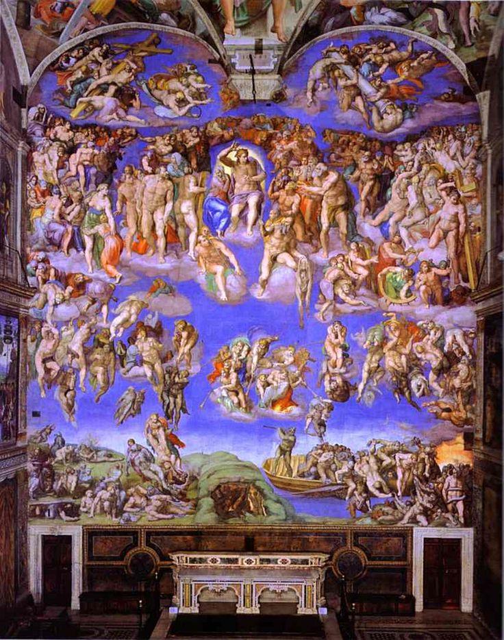미켈란젤로 [최후의 심판]  이 작품은 1533년 당시 교황으로부터 명받고 1541년 완성되었다. 단테의 <신곡>에 근거하여 지옥, 연옥, 천국에 위치를 매긴 것처럼 예수를 중심으로 천상의 세계에서 지옥의 세계로 구분하여 표현하였다. 크게는 천상계, 튜바 부는 천사들, 죽은 자들의 부활, 승천하는 자들, 지옥으로 끌려가는 무리들의 5개 부분으로 나누어진다. 특이한 점은 여기에서 미켈란젤로 자신의 얼굴을 찾을 수 있다는 점이다. 가운데 예수를 기준으로 오른쪽 하단에 그려져 있는 산 채로 가죽이 벗겨지는 형을 당했다는 순교자 바르톨로메오가 들고 있는 사람 가죽이 바로 미켈란젤로이다. 이렇게 기괴하게 자신을 표현했다는 것은 르네상스 시대의 작가 본인을 드러내고자 하는 정신과 함께 순교자의 허물을 통해 세상의 짐을 벗어놓고 천국을 희망하는 미켈란젤로의 신앙심의 발현이 아닐까.