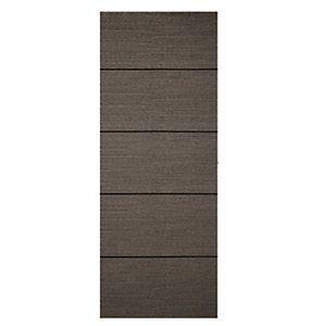 Wickes Milan 4 Line Horizontal Charcoal Grey Real Wood Veneer Door 1981 x 762mm | Wickes.co.uk