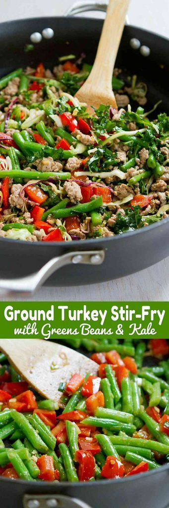 This Ground Turkey Stir-Fry with Greens Beans and Kale is a healthy, delicious 20 minute meal! 243 calories and 5 Weight Watchers SmartPoints