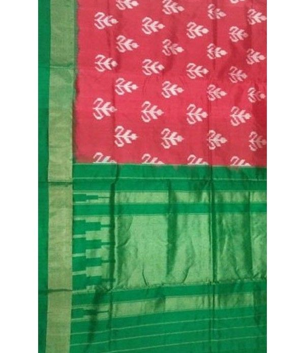 Red Handloom  Ikkat Silk Saree