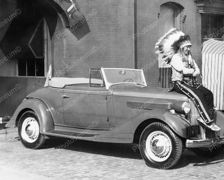 Indian Sits On 1934 Pontiac Convertible 8x10 Reprint Of Old Photo
