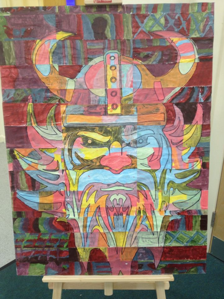 KS2 Year 5 canvas artwork based on work by the artist Chuck Close. I enlarged a black and white picture of a Viking, so it cover 9 A3 pieces of paper. Then cut each paper into 5 pieces. On the back of each piece (before I cut it) I put a code so I knew how to piece it all together again . Eg Top A 1. I gave each child a piece and had marked if I wanted it painted in pastels or dark colours. Then gave them free reign- they had no idea what it was until I did the big reveal! So exciting!