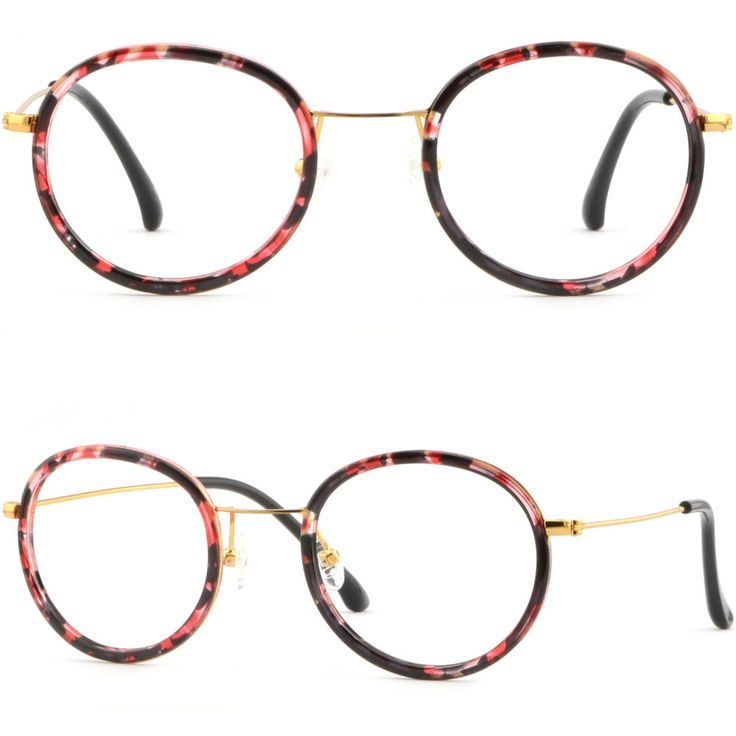 Small Round Women's Girls Frames Prescription Eyeglasses RX Sunglasses Gold Pink #Unbranded