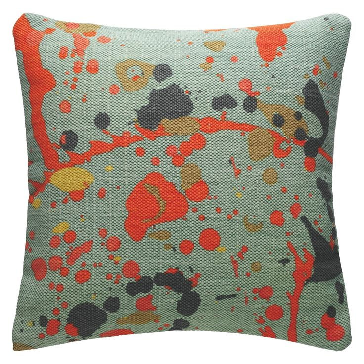 SPLATTER Multi coloured printed cotton cushion 50 x