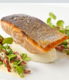 Organic salmon with English peas and chorizo recipe - Sunny Spain meets the British summer in this bold tasting, colourful main course from the incomparable Adam Gray.