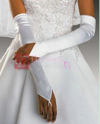 Half sleeve satin wedding glove_2