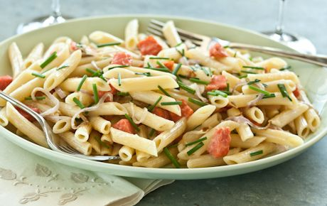 Smoked salmon and creme fraiche lemon pasta.  Will just bake the salmon then toss in.