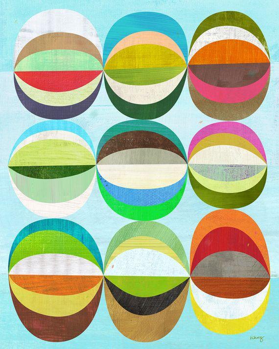 A Delightful Design: more stylish art for kidsColors Combos, Melanie Mikecz, Circles Prints Pattern, Art Inspiration, Living Room Art, Illustration, Art Prints, Quilt Fabrics, Circles Art