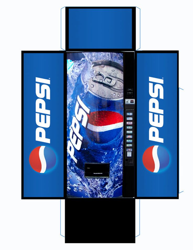 Pepsi Vending Machine by MisterBill82 on DeviantArt.  There are a couple of resin machines for sale on http://www.1999.co.jp/eng/search?typ1_c=101&cat=&state=&sold=0&sortid=0&searchkey=Vending+machine.  They say they're 1:24 which would be half inch scale, but they list the size in cm and I think they're really one inch scale.