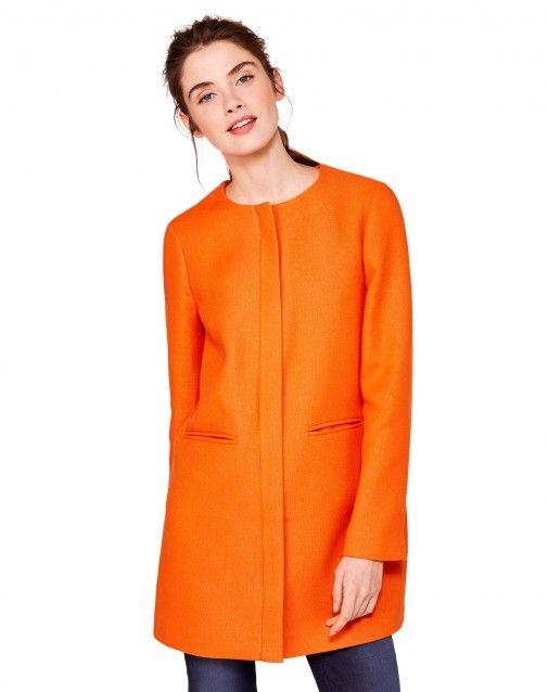 Пальто с контрастной внутренней частью Оранжевый - ДЛЯ ЖЕНЩИН | Benetton