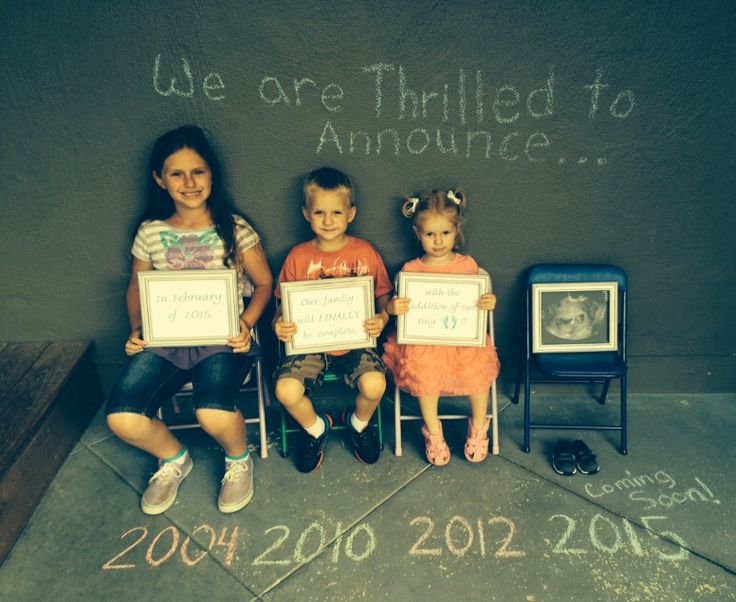 Pregnancy announcement baby #4  We are Thrilled to Announce... In February of 2015, Our family will FINALLY be complete, with the addition of two tiny feet!