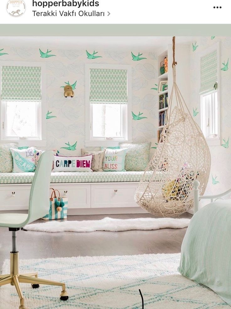kids hanging chair for bedroom%0A Mint green girl bedroom features an Anthropologie Knotted Melati Hanging  Chair displaying a knotted rope lace like shell