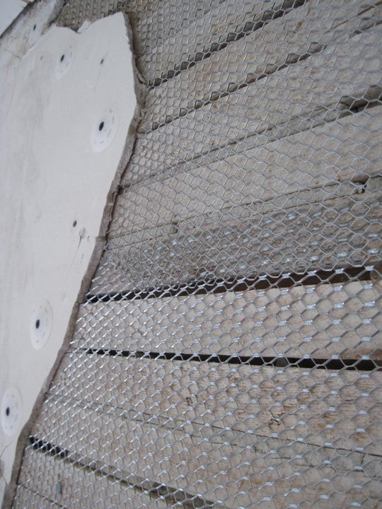 metal lath. a picture of the metal lath, cut closely to original plaster. this will lath