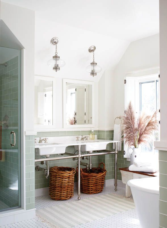 Love having a rail under a basin + a really good place for laundry baskets...
