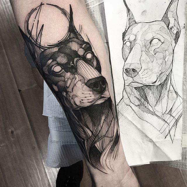 Dobermann do Rodrigo  Muito obrigado man  Feito no @inkonik_tattoo_studio #electricink