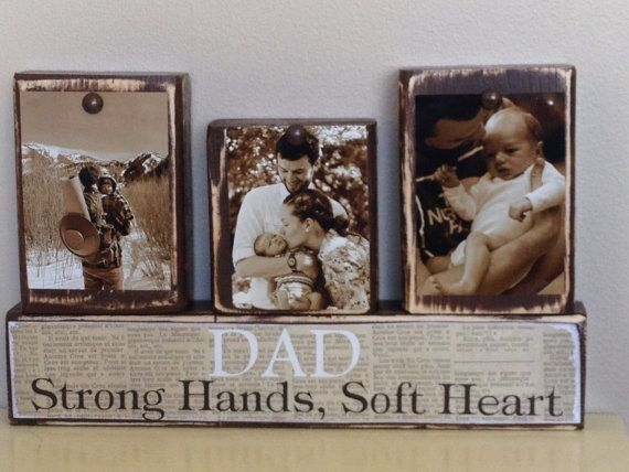 Personalized Fathers Day gift father photo with son and daughter sepia Dad strong hands soft heart last day to order June 1