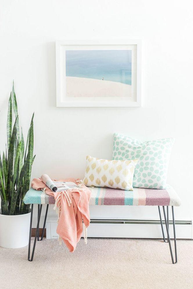 DIY Cotton Upholstered Hairpin Leg Bench | http://dreamgreendiy.com /refinery29/ /discovercotton/