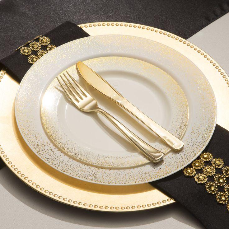 1015 Mist Ivory Gold Plastic Dinnerware Value Set