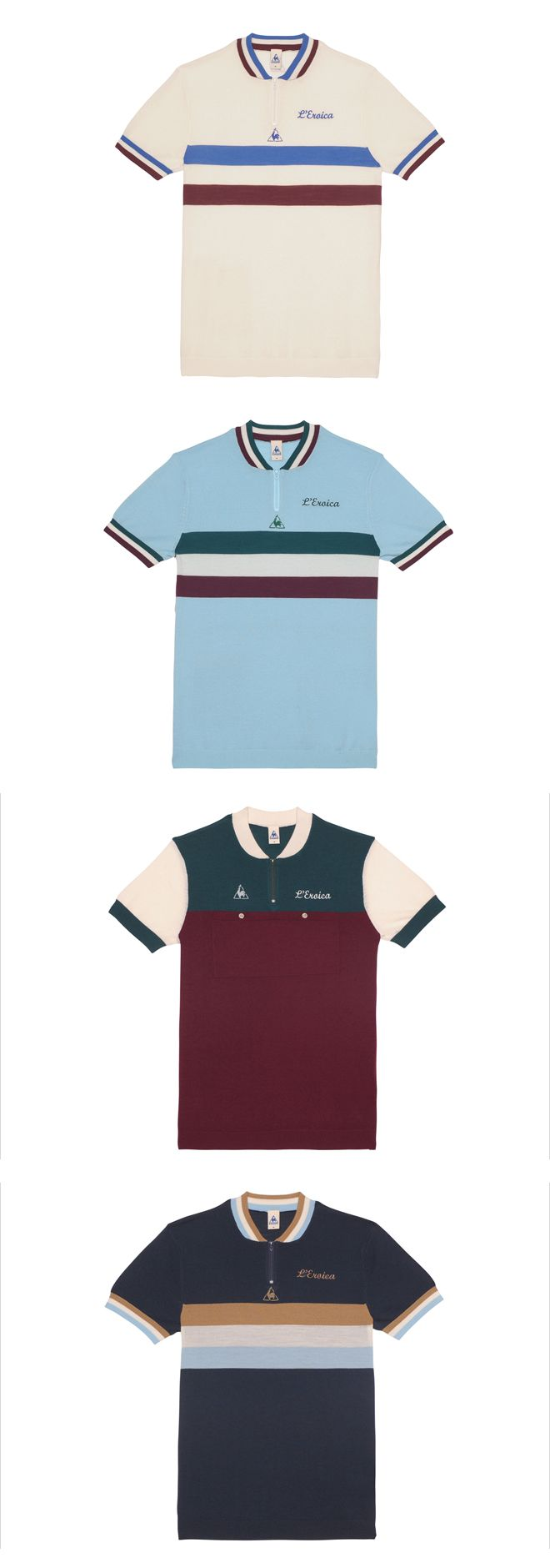 L'EROICA CYCLING RANGE from le coq sportif --- Taking notice of the use of multiple colours, and various layout designs.