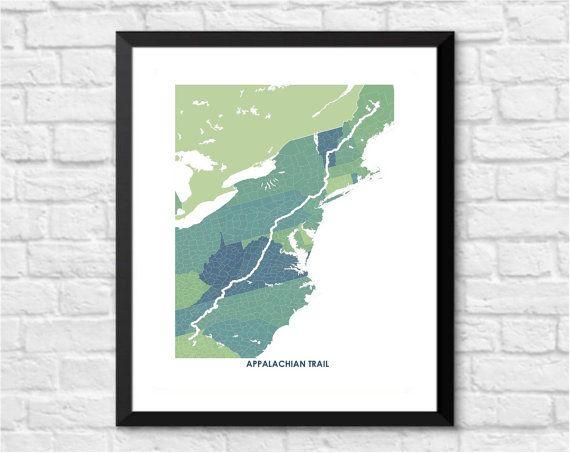 Appalachian Trail Art Map Print.  Color Options and Size Options Available.  Map of Appalachian Hiking Trail.