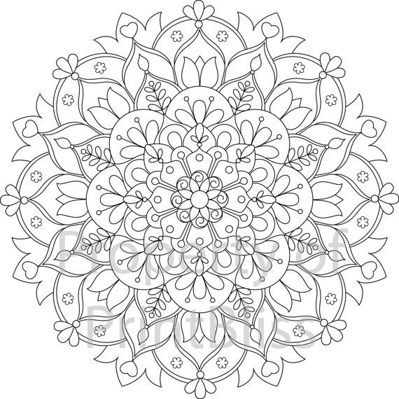 15 flower mandala printable coloring page mandalas blomma och etsy. Black Bedroom Furniture Sets. Home Design Ideas