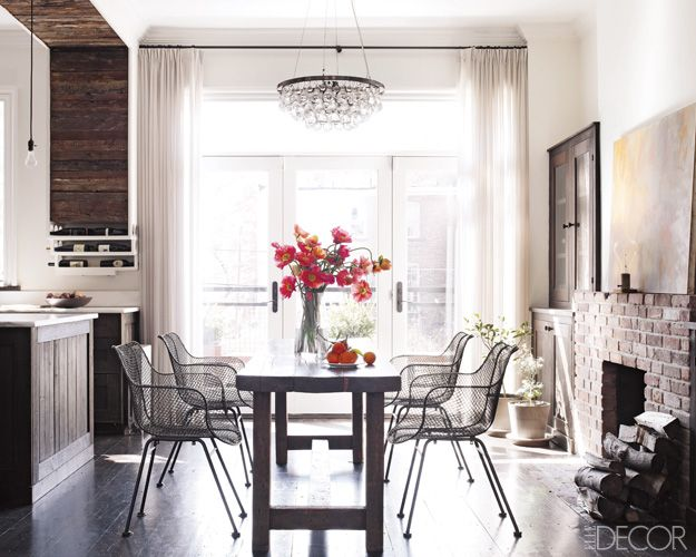 Clean chairs with farm table.Kitchens, Dining Rooms, Dining Area, Elle Decor, Chairs, Interiors, Keri Russell, Diningroom, Elledecor