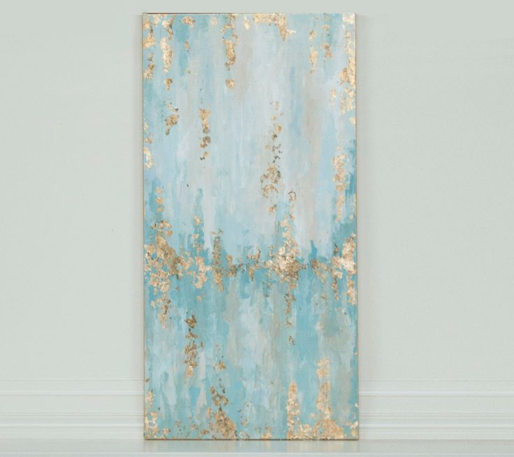 """12"""" x 24"""" gold leaf abstract painting with light teals and blue by CaseyLangteauArt on Etsy https://www.etsy.com/listing/259528419/12-x-24-gold-leaf-abstract-painting-with"""