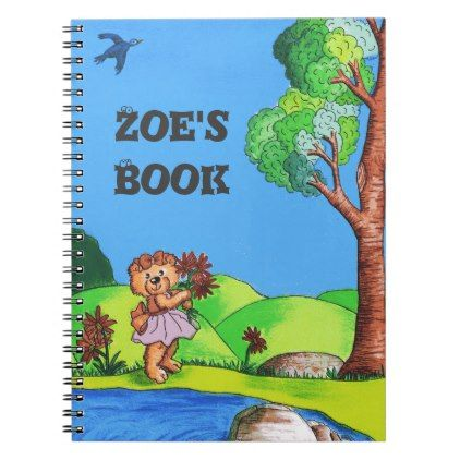 Personalized Teddy Bear Spiral Notebook - kids kid child gift idea diy personalize design