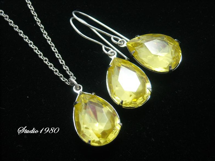 Canary yellow jewelry, Canary yellow bridal jewelry, bridemaids gifts,wedding jewelry,Canary yellow earrings, Canary yellow. $49.00, via Etsy.