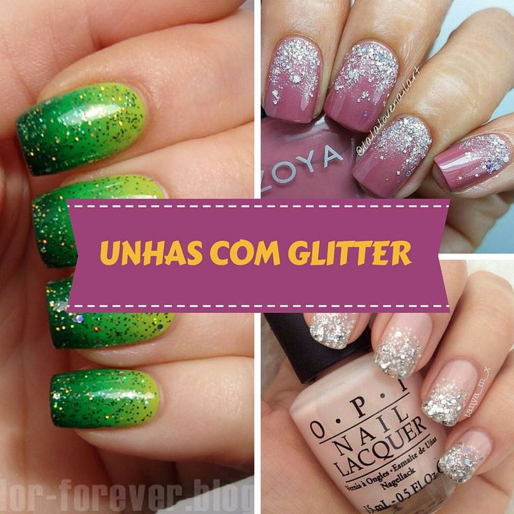 Unhas Decoradas com Glitter - http://webfeminina.com/unhas-decoradas-com-glitter/