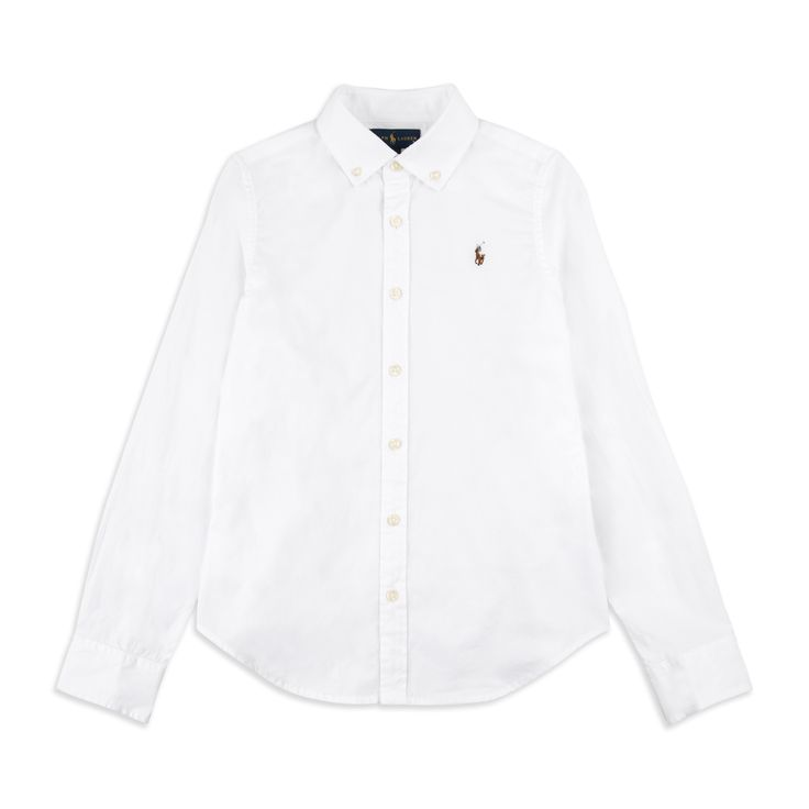 RALPH LAUREN Girls Cotton Oxford Shirt - White Ralph Lauren classic oxford shirt in soft woven cotton along with the iconic pony embroidery logo is perfect for any occasion.