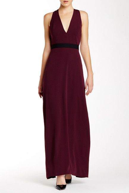 V-Neck Belted Long Dress