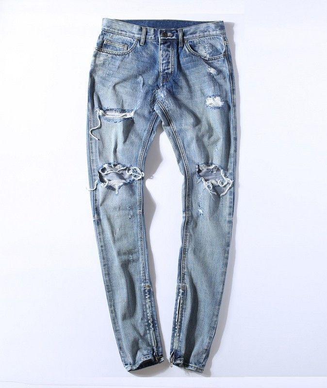 kanye west clothes streetwear light blue hip hop jeans rockstar justin bieber ankle zipper destroyed skinny ripped jeans for men