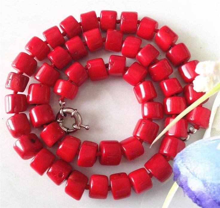 Charming Natural 8-10mm Red Sea Coral approx rondelle new Necklace 20.5''ZRW4661…