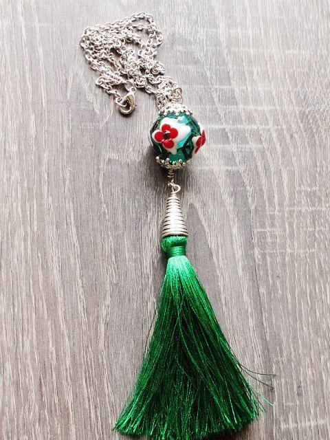 Teal Floral Lampwork Glass Necklace Tassel by GlassHouseLampwork