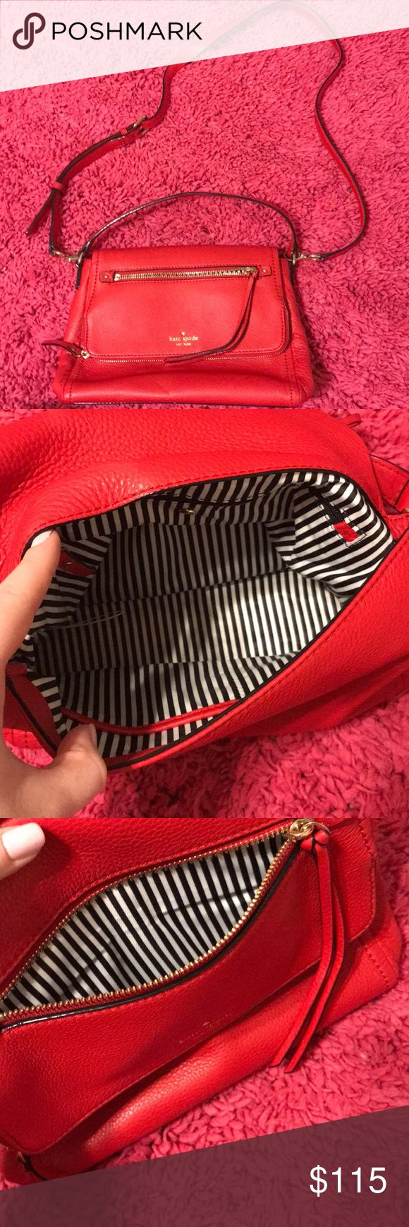 Kate spade red leather crossbody Brand new without actual price tags, but the tag is still attached • 100% authentic, beautiful quality bag. Red leather exterior w black and white striped interior w/Kate spade logo/symbol. Lots of zippers & pockets. Can be worn crossbody or carried. Thanks for stopping by my closet! 💗 kate spade Bags
