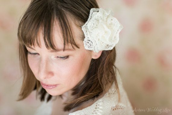 Hand-knitted Bridal Hair Accessory Wedding by ArtanisWeddingLace