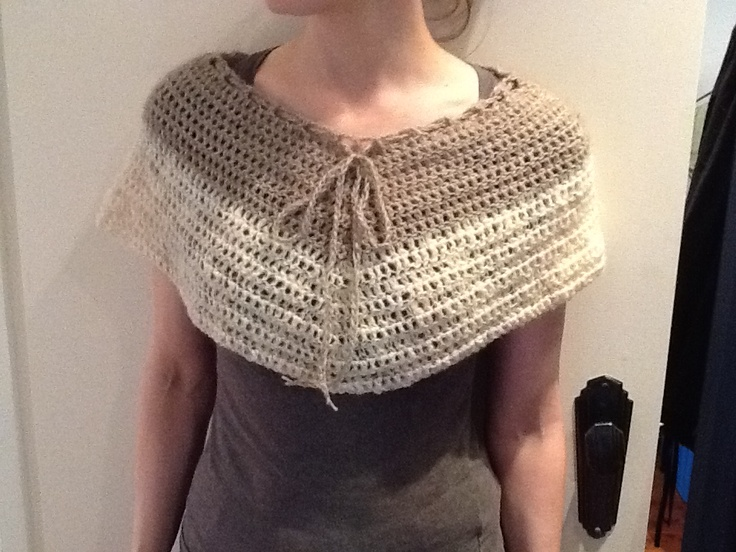 undyed possum wool and lamb's wool cape-let. it started off as a poncho but I stopped early so it is now a cape-let!
