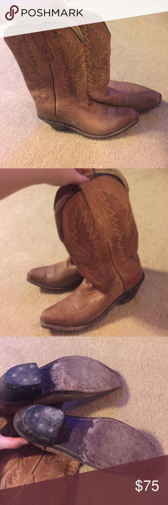Cowgirl boots Size 61/2 worn 3 times but outside so little by of muddy but can be cleaned up a bit ! Great condition no flaws brand is old west don't  know of the place where purchased Buckle Shoes Combat & Moto Boots