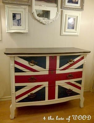 union jack dresser in white with wood top