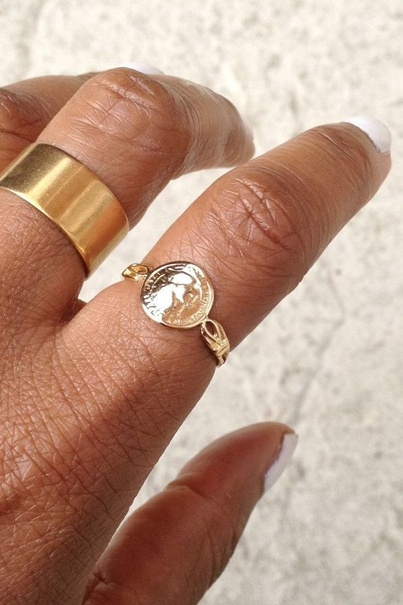 Gold Coin Ring/ Gold Dainty Ring/ Gold Signet by AVBohoJewellery
