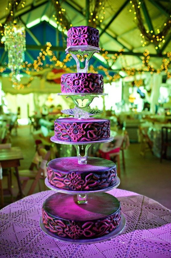 "Stunning purple tiered cake from the ""Glam Deer Camp"" themed wedding reception of Miranda Lambert & Blake Shelton as presented to Strictly Weddings by @junkgypsies"