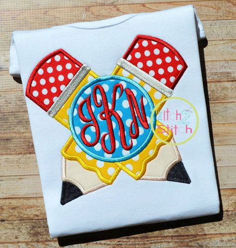 Crossed Pencil Monogram Applique Design for by TheItch2Stitch
