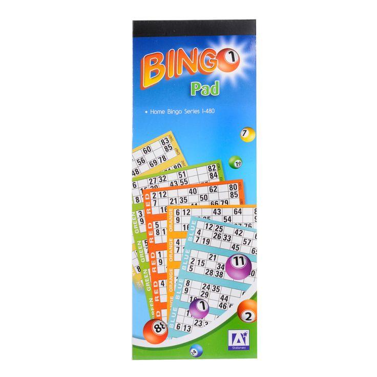 Blok met 480 gekleurde Bingo kaarten. Eventueel te gebruiken met het Bingo Klembord (art. 1640189) Afmeting: 10,5 x 28,5 cm  - Bingo Pad