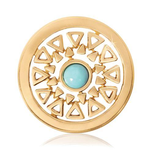 Nikki Lissoni Gold-tone 23.6mm Turquoise Inner Beauty Coin
